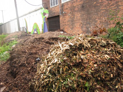 huge compost pile at Earthworks