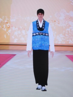 "the blue Korean ""hanbok"" outfit from the front"