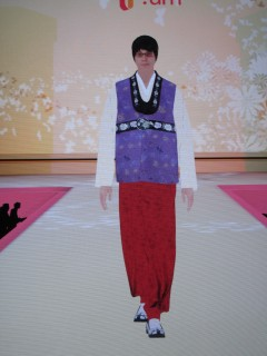 "front view of one traditional Korea ""hanbok"" outfit"