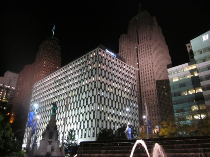 Detroit at night, courtesy Leon Kaye