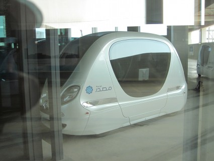 Masdar's PRT cars, which run beneath the community's buildings