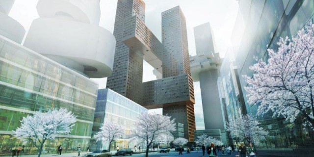 big designs, cross towers, seoul, korea, yongsan, architecture, Yongsan international business district, Leon Kaye, yongsan master plan, studio Liebeskind, dream hub,